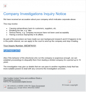 Company Investigation Phishing email screenshot