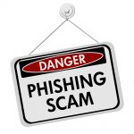 Graphic of a 'Danger phishing scam' sign